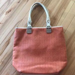 treesje woven pumpkin/ivory trim leather purse